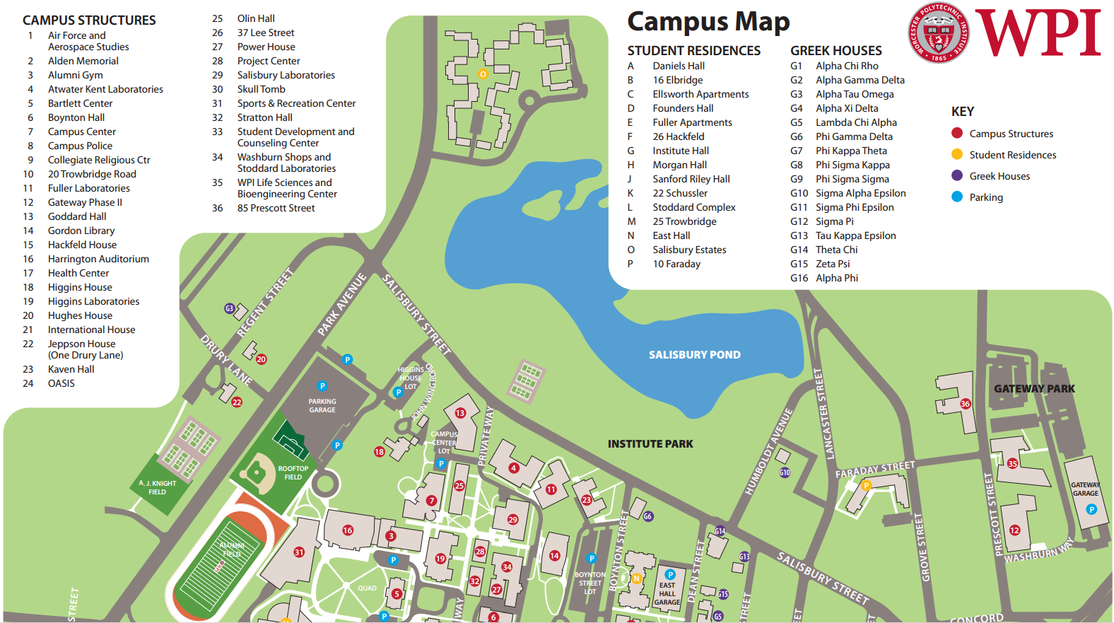 WPI Campus Map – Worcester Area Masters